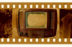 Photo de trame des anciens 35mm avec le cru TV Photos libres de droits