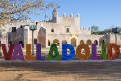 Photo de Valladolid et signe coloniaux de selfie Photographie stock