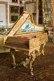 Photo de vieux clavecin merveilleux dans le palais baroque de Borromeo, Isola Bella, Piémont Images libres de droits