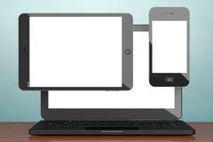 Photo de vieux type PC d'ordinateur portable, de téléphone portable et de comprimé renderin 3D Photo stock