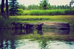 Photo de vintage de kayaking par la rivière de Krutynia en Pologne Images libres de droits