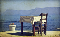 Photo de vintage de la table de salle à manger et des chaises réglées Images stock
