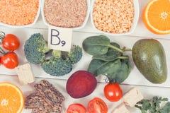 Photo de vintage, nourriture nutritive saine comme acide folique de source, minerais, vitamine B9 et fibre alimentaire Photographie stock libre de droits