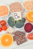 Photo de vintage, nourriture nutritive saine comme acide folique de source, minerais, vitamine B9 et fibre alimentaire Photo stock