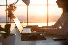 Photo de vue de côté d'un programmeur femelle à l'aide de l'ordinateur portable, fonctionnement, dactylographie, surfant l'Intern photo libre de droits
