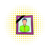 Photo of deceased icon, comics style. Photo of deceased icon in comics style  on white background. Photo portrait in frame and with black ribbon for funeral Royalty Free Stock Images