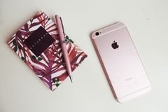 Girly desk with IPhone 6s Royalty Free Stock Image