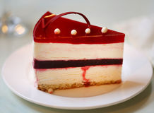 Photo of a delicious cheesecake. In a cafe royalty free stock photography