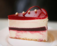 Photo of a delicious cheesecake. In a cafe stock photo