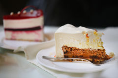 Photo of a delicious cheesecake. In a cafe stock photography