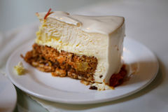 Photo of a delicious cheesecake. In a cafe royalty free stock image