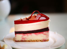 Photo of a delicious cheesecake. In a cafe royalty free stock photos