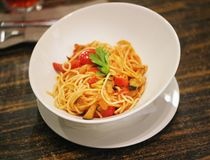 Photo of a delicious vegetable spaghetti Royalty Free Stock Photography