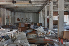 Photo from demolition  textile  factory. Big hall Royalty Free Stock Photos
