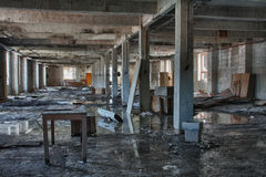 Photo from demolition  textile  factory. Big hall Stock Photo