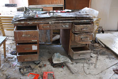 Photo from demolition  textile  factory. Broken table Royalty Free Stock Photos
