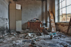 Photo from demolition  textile  factory. Broken table Stock Photos