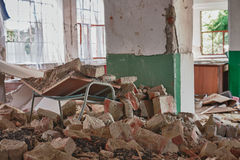 Photo from demolition  textile  factory. Broken table Royalty Free Stock Image