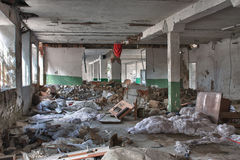 Photo from demolition  textile  factory. In sunny day Royalty Free Stock Images