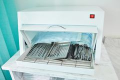 Photo of dental tools in sterilizer. stock photos