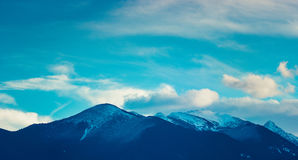 Photo depicting a beautiful moody frosty landscape European alpi Royalty Free Stock Images