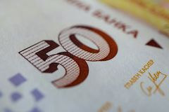 Photo depicts the Bulgarian currency banknote, 50 leva, BGN, clo. Se up. Depicts a portraiture of Pencho Slaveykov, famous Bulgarian poet Stock Photos