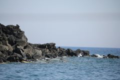 Lava Rock in the Aegean Sea. This photo depicts a formation of lave rock, hard solidified lava, as it merges with the Aegean sea royalty free stock photo