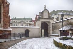 Photo des apôtres à l'église de St Peter et de Paul dans la neige à Cracovie Photos stock