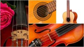 Photo des instruments de musique, de la guitare et du violon Photo stock