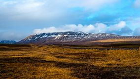 Wallpaper view to meadows and snowy hill in Iceland. This photo describes a typical Icelandic landscape near Reykjavik. Beautiful orange and brown meadows with stock photography