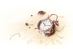 Photo of a destroyed alarm clock Royalty Free Stock Photo
