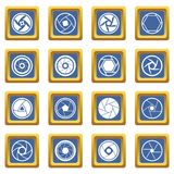 Photo diaphragm icons set blue. Photo diaphragm set. Simple illustration of 16 photo diaphragm vector icons set in blue color isolated vector illustration for Vector Illustration