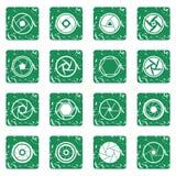 Photo diaphragm icons set grunge. Photo diaphragm set in grunge style green isolated vector illustration Stock Photography