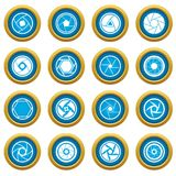 Photo diaphragm icons blue circle set. Photo diaphragm set. Simple illustration of 16 photo diaphragm vector icons blue circle set isolated on white for digital Vector Illustration