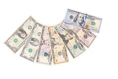 Photo of different banknotes US dollars. Stock Image