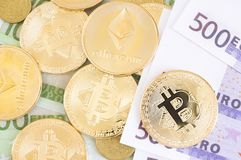 Ethereum, bitcoins and other coins stock photography