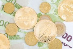 Bitcoins and other coins stock image