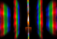 Photo diffraction candle flame light in the form of iridescent spots Royalty Free Stock Images