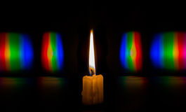 Photo diffraction light candles on the phase grating Stock Photos