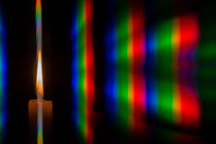 Photo diffraction light candles on the two diffraction gratings Royalty Free Stock Photo