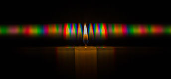 Photo of the diffraction pattern of candle flame light, comprising a large number of diffraction orders obtained by the grating Royalty Free Stock Photo