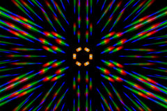 Photo diffraction pattern of the LED array, obtained by the grating. Photo diffraction image of the LED array, made by two crossed thin phase grating Royalty Free Stock Photo