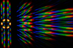 Photo diffraction pattern of the LED array, obtained by the grating Royalty Free Stock Image