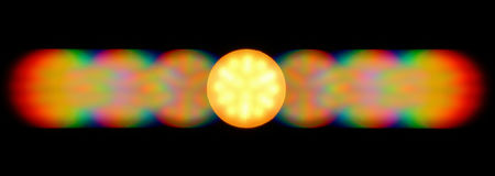 Photo of the diffraction pattern of LED lamp light, comprising a large number of diffraction orders Royalty Free Stock Image