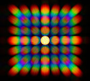 Photo of the diffraction pattern of LED lamp light, comprising a large number of diffraction orders Royalty Free Stock Images