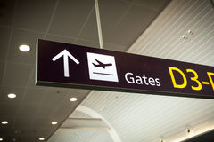 Photo of direction sign in modern airport Stock Photography