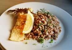 Photo dishes with buckwheat and fish Royalty Free Stock Images