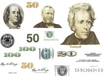 Photo dollar bill elements isolated Royalty Free Stock Photos