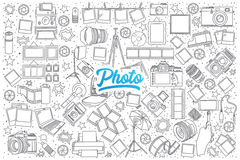 Photo doodle set with blue lettering Royalty Free Stock Images