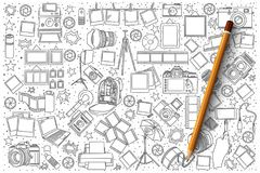 Photo doodle vector set. Hand drawn set of photo vector doodles Royalty Free Stock Image
